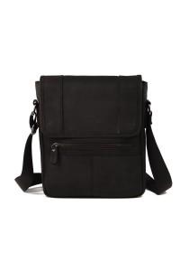 Мессенджер мужской кожаный, серо-черный RR-8396A