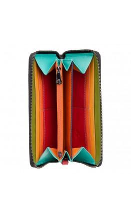 Кожаный женский кошелек Visconti SP79 Violet c RFID (Black Multi Spectrum)