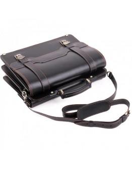 Черный мужской кожаный портфель с коричневой нитью Manufatto SPS-3 Black