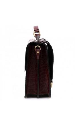 Коричневый мужской кожаный портфель Manufatto SPS-3 Brown croco