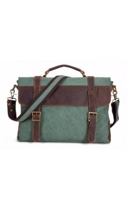 Мужская зеленая сумка из ткани и кожи TB383GN