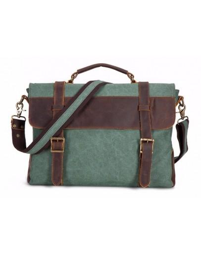 Фотография Мужская зеленая сумка из ткани и кожи TB383GN