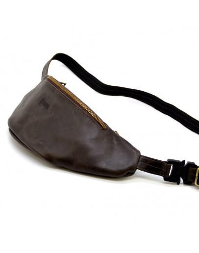 Фотография Кожаная коричневая сумка на пояс Tarwa TC-3036-4lx