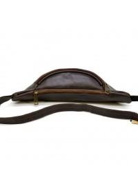 Кожаная коричневая сумка на пояс Tarwa TC-3036-4lx