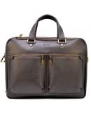 Фотография Мужская вместительная коричневая кожаная деловая сумка Tarwa TC-4664-4lx