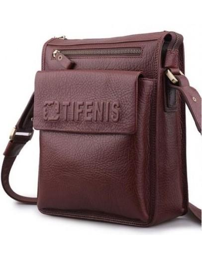 Фотография Кожаная коричневая мужская сумка на плечо Tifenis Tf69978-2C