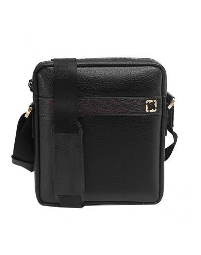 Фотография Кожаная сумка мужская на плечо, черная Tifenis TF70008-2A