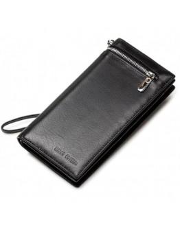 Черный кожаный клатч из мягкой кожи TR0993
