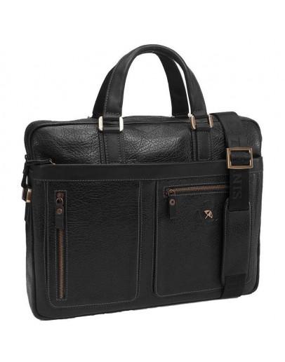 Фотография Мужская сумка для ноутбука, черная кожаная Tifenis Tf69886-6A