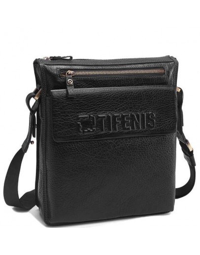 Фотография Черная мужская сумка на плечо, кожаная Tifenis Tf69978-2A