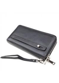 Черный кожаный клатч на 2 молнии Tr5M-8871