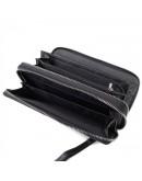 Фотография Черный кожаный клатч на 2 молнии Tr5M-8871
