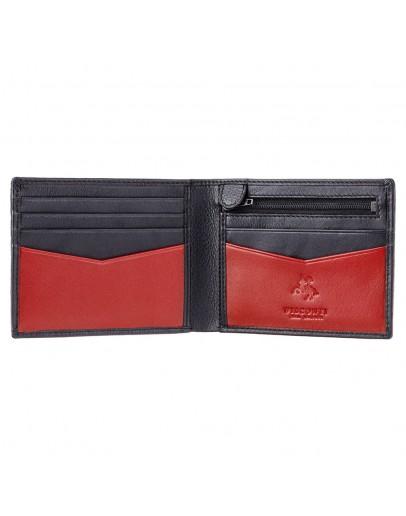 Фотография Черный кожаный кошелек Visconti VSL20 Sword c RFID (Black Red)