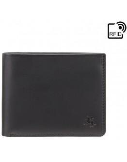 Черный кожаный кошелек Visconti VSL33 TAP-N-GO c RFID (Black-Steel Blue)