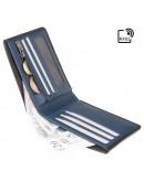 Фотография Черный кожаный кошелек Visconti VSL33 TAP-N-GO c RFID (Black-Steel Blue)