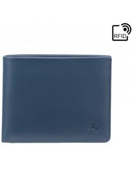 Синий кожаный кошелек Visconti VSL33 TAP-N-GO c RFID (Steel Blue-Black)
