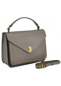 Серая деловая женская кожаная сумка W12-813L-B