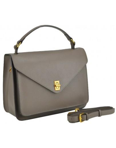 Фотография Серая деловая женская кожаная сумка W12-813L-B