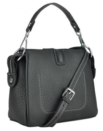 Фотография Черная женская небольшая кожаная сумка W14-9918A