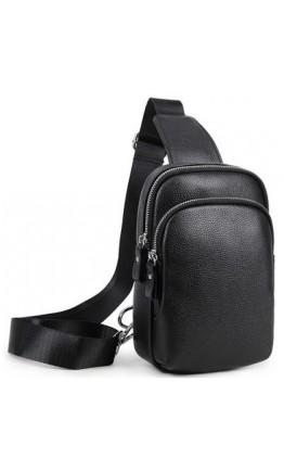 Черный кожаный мужской слинг A25F-1922A