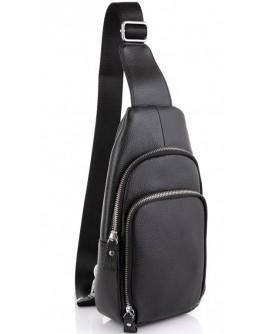 Черный кожаный рюкзак слинг Tiding Bag A25F-5058A