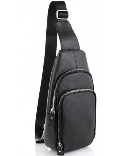 Фотография Черный кожаный рюкзак слинг Tiding Bag A25F-5058A