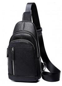 Черный мужской кожаный слинг Tiding Bag A25F-5427A