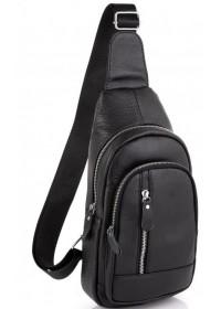 Слинг черный кожаный мужской Tiding Bag A25F-5605A