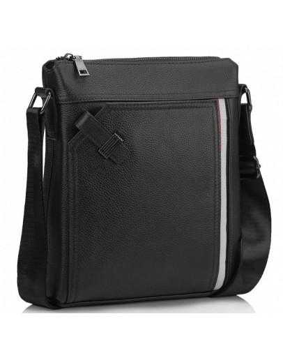 Фотография Кожаная черная мужская сумка на плечо A25F-8867A