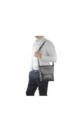 Мужская черная кожаная сумка плечевая A25F-8870A