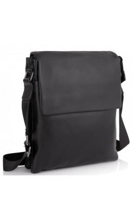 Мужская черная кожаная сумка плечевая A25F-8873A