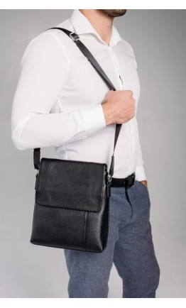 Черная кожаная сумка на плечо A25F-8878A