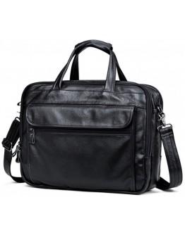 Черная мужская удобная кожаная сумка A25F-9001А
