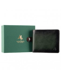 Портмоне зеленое кожаное мужское Visconti AT58 Milo c RFID (Burnish Green)