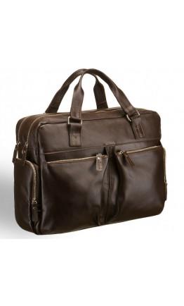 Вместительная коричневая кожаная мужская сумка Blamont Bn002C