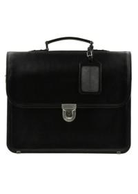 Чёрный классический кожаный портфель Blamont bn037A