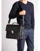 Фотография Чёрный кожаный мужской деловой портфель Blamont Bn044A