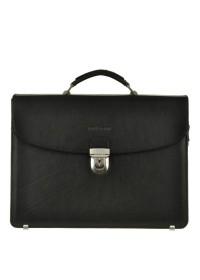 Практичный чёрный мужской кожаный портфель Blamont Bn053A