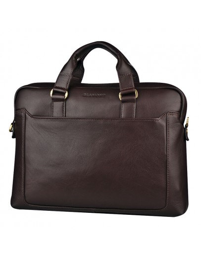 Фотография Прочный мужской кожаный коричневый портфель Blamont Bn066C