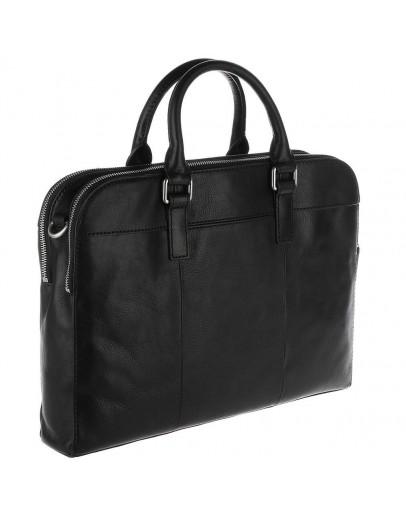 Фотография Мужская удобная чёрная кожаная сумка - портфель Blamont Bn071A