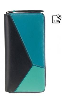 Женский большой кожаный кошелек Visconti BRC98 Julia (Blue Bell)