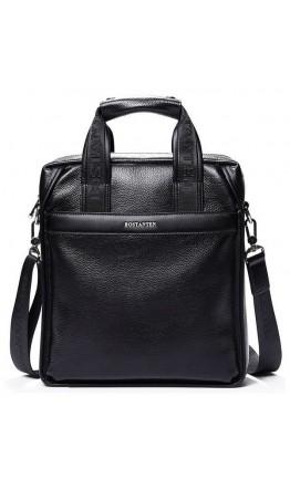 Мужская черная кожаная вертикальная сумка BS0111-1