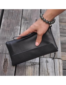 Черный мужской клатч, натуральная кожа bx002