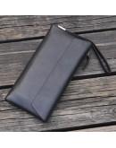 Фотография Черный мужской клатч, натуральная кожа bx002