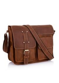 Коричневая мужская кожаная сумка на плечо Bx1050RR