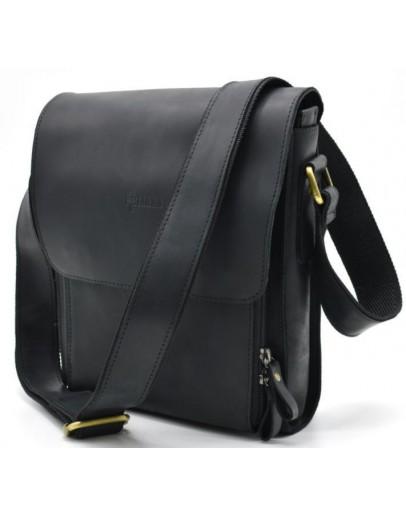 Фотография Черная сумка на плечо мужская кожаная Tarwa bx3027-2kr