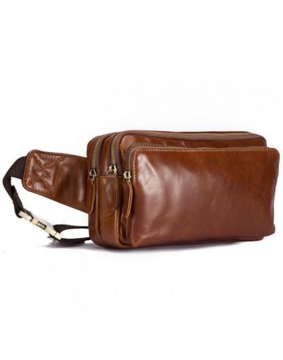 Фотография Мужская рыже-коричневая кожаная сумка на пояс bx6210