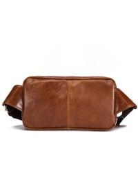 Мужская рыже-коричневая кожаная сумка на пояс bx6210