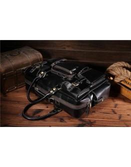 Черная кожаная мужская сумка - портфель bx7028A