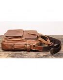 Фотография Кожаная коричневая винтажная деловая сумка Vintage BX8178C